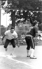 Circa 1992, Forest Park Softball Tournament photo from first game. The team in black was the Splinters.