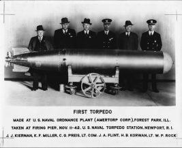 This was the first torpedo made in Forest Park, this photo marks the momentous event.