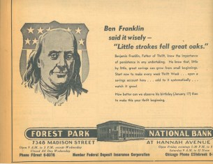 Forest Park National, now Forest Park Bank, using the penny saved is a penny earned motto to encourage new customers.