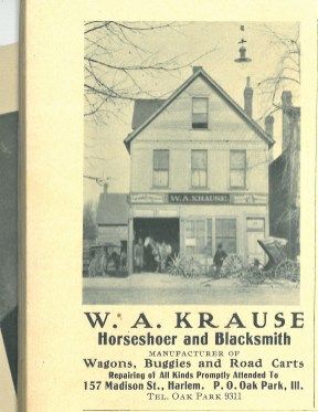 1906 Village of Harlem 50th anniversary souvenir booklet shows this ad for Krause's Blacksmith shop.