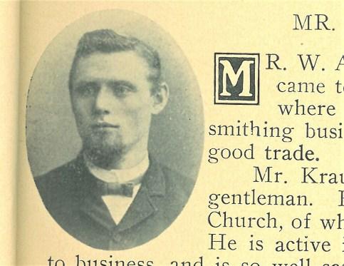 1906 Village of Harlem 50th anniversary souvenir booklet shows this photo of WA Krause, local blacksmith.
