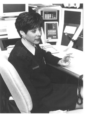 Dispatcher, Darlen Dunne, at the dispatch station in Forest Park Police department in 1994.