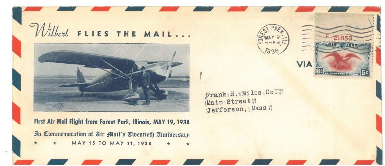 "This 20th anniversary commemorative envelope features Wilbert Haase in front of his Fairchild ""24"""