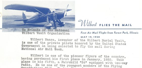 This is the letter sent in the 20th Anniversary of the Air Mail flight from Wilbert Vault Organization.