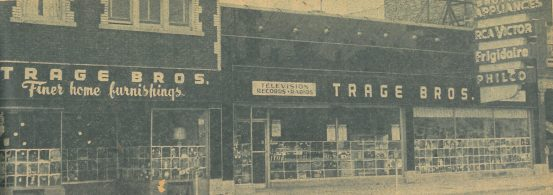 Trage Bros. Appliances, now Grand Appliance, would host a painting contest on their windows in the 1950's.