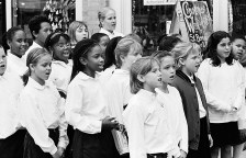 St. B's Choir singing along Madison at the Annual Holiday Walk sponsored by the Chamber in 1998.