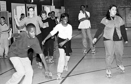 Skating party at FPMS in 1998, was the same week as the holiday walk.