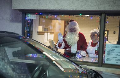 The Forest Park Chamber of Commerce organized a drive-thru Santa and Mrs. Claus experience for residents on Saturday, Dec. 12, at Forest Park National Bank, 7348 Madison St.
