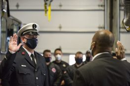Mike Kinder is promoted to lieutenant in the Forest Park Fire Department on Dec 30. | Alex Rogals, Staff Photographer
