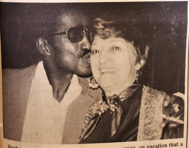 "Photo: April 2, 1975 Sammy Davis, Jr. dropped in at Giannotti's or dinner and expressed his pleasure with Mary Giannotti, who served what he called ""a dream of a dinner."""