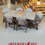 Amish Made Poly 6ft Dining Table With Chairs Set