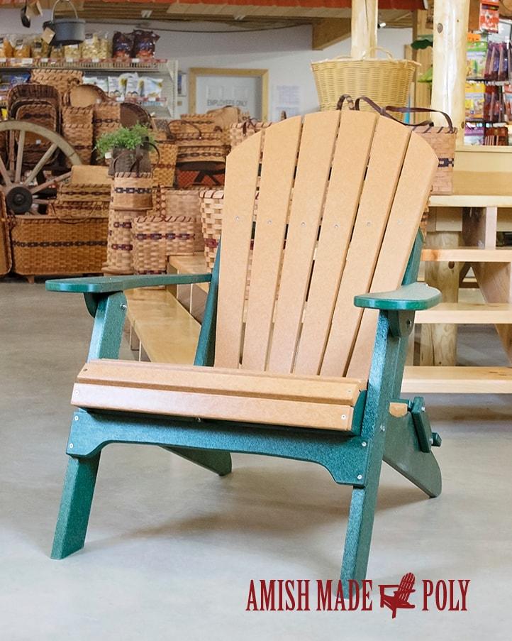 Amish Made Poly Folding Adirondack Chair Cedar Woodland Green