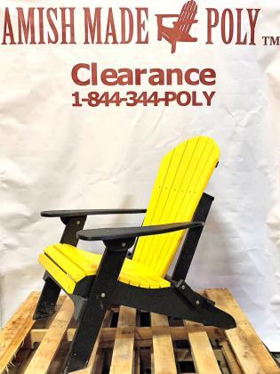 Amish Made Folding Poly Adirondack Chair Patriot Yellow on Black
