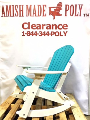 Amish Made Adirondack Rocking Chair Aruba Blue on White Clearance