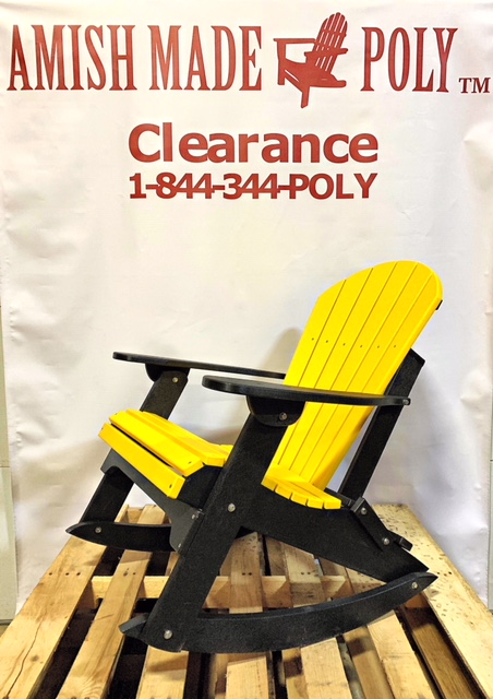 Amish Made Adirondack Rocking Chair Yellow on Black Clearance