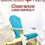 Amish Made Folding Poly Adirondack Chair - Aruba Blue on White, Clearance