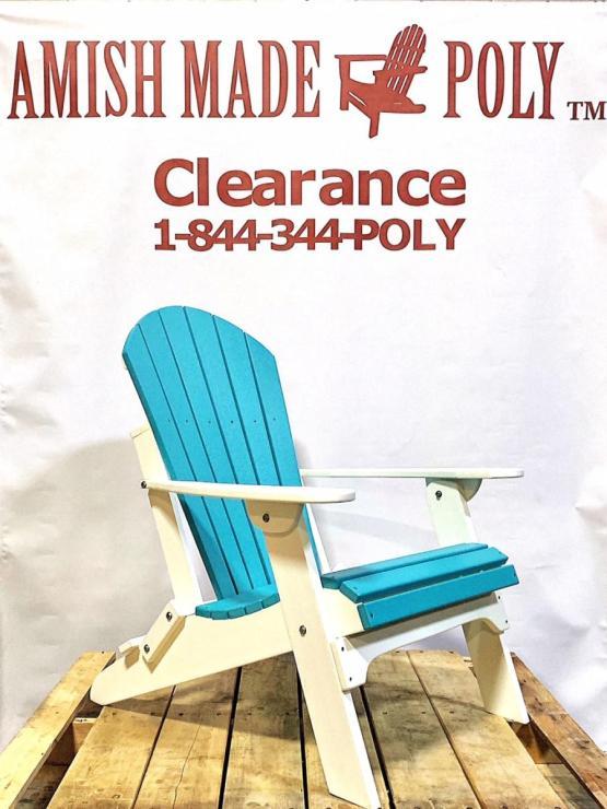 Amish Made Folding Poly Adirondack Chair - Aruba Blue on White, Clearance