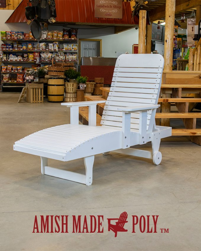 Amish Made Poly - Chaise Lounge with Arms - White