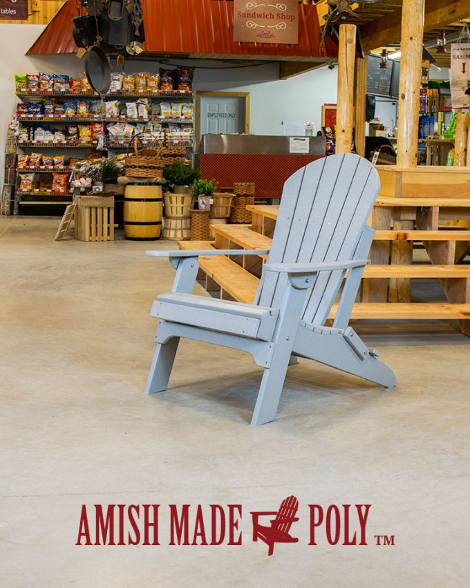 Amish Made Poly - Folding Adirondack with Pullout Ottoman - Light Gray