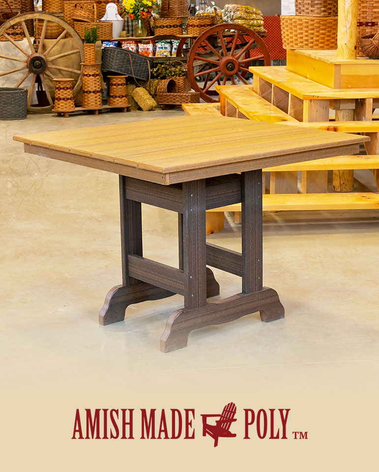 Poly English Square Dining Height Table Amish Made Poly