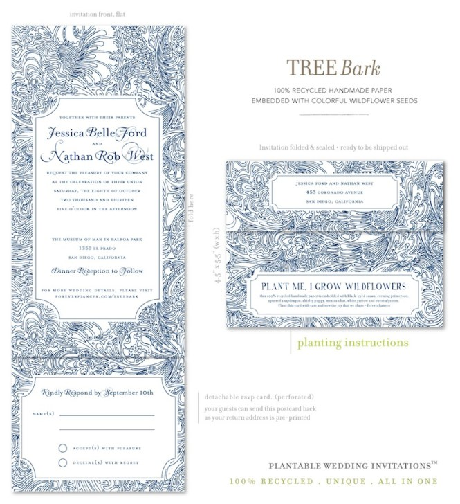 All In One Wedding Invitations On Seeds Paper Tree Bark