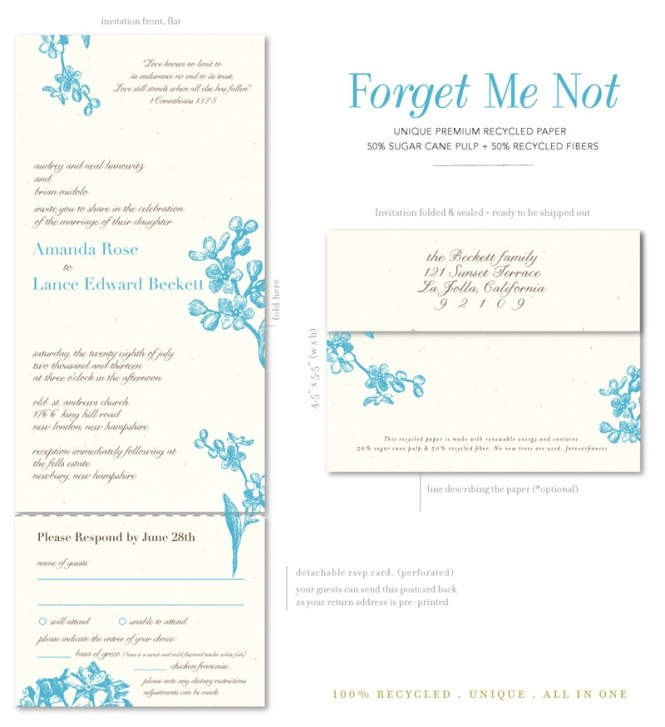 Recycled Paper Forget Me Not