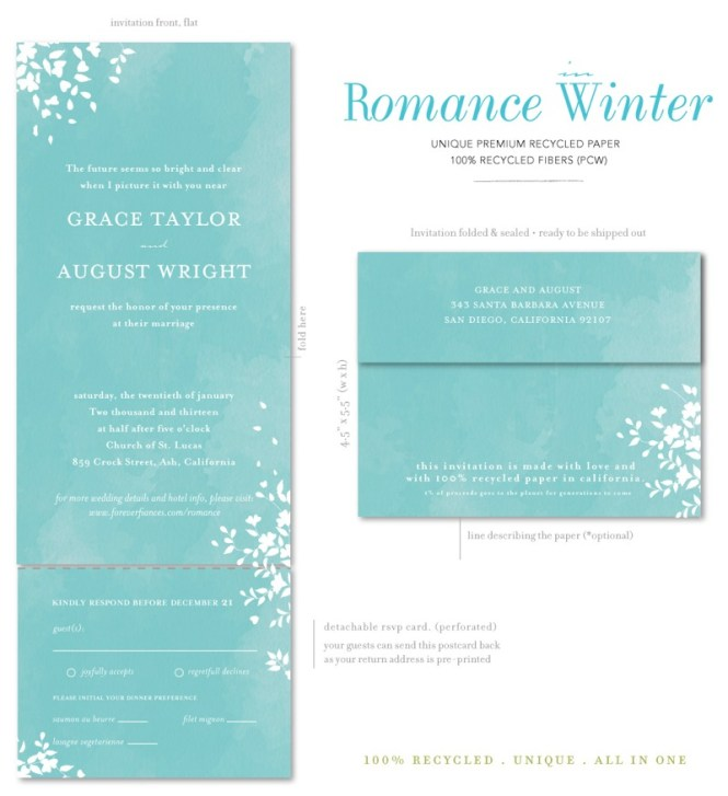 Seal And Send Wedding Invitations Romance Winter