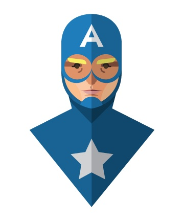 Flat Design - Captain America