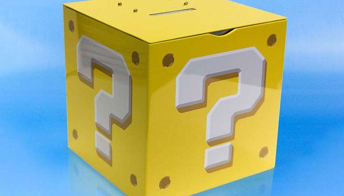 super mario question block money box