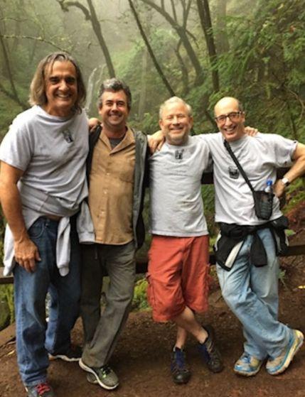 Raul Hernandez, Ian Morris, Frank Marrero, and Terry Patten. Cataract Trail in Mt. Tamalpais, CA.