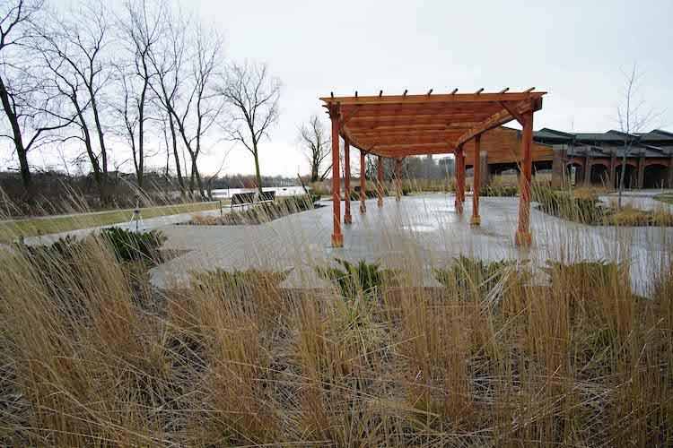 Landscaping with native prairie grasses creates synergy with nature and park-goers. Photo courtesy of Metroparks.