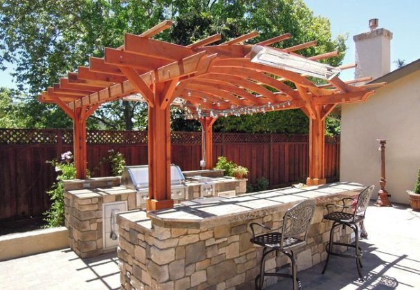Outdoor Kitchen Pergola  Custom Redwood Kitchen Pergola Kit Marin Outdoor Kitchen Pergola
