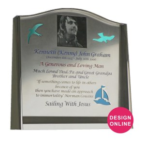 stainless steel headstone with reflective glass backing