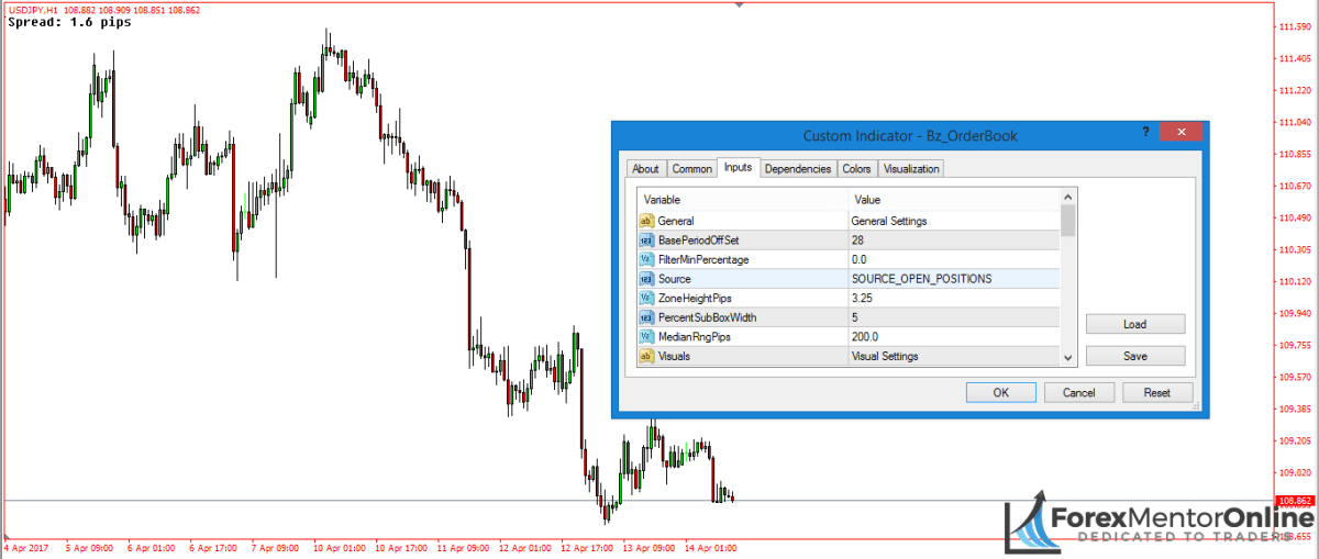 image of inputs tab on order flow indicator setting