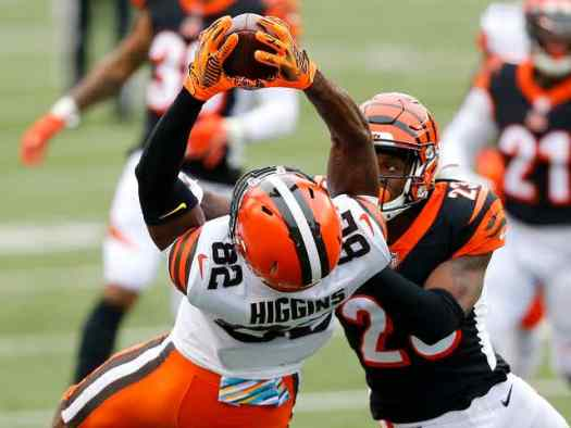 Browns wide receiver Rashad Higgins should be a treat in fantasy lineups this weekend.