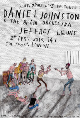Poster for Daniel Johnston/Jeffrey Lewis London show
