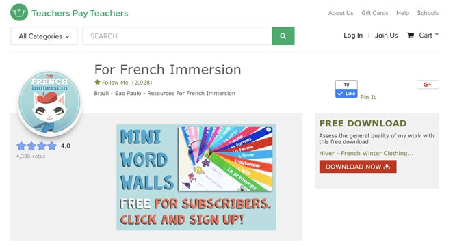 TeachersPayTeachers store For French Immersion #frenchimmersion #teacherspayteachers #forfrenchimmersion