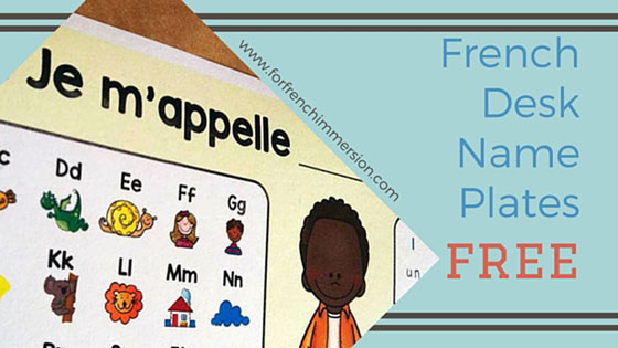 FREE French Desk Name Plates - great reference tool for your students (alphabet, numbers, right/left). En français.