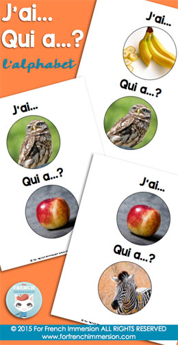 French Alphabet Game - J'ai… Qui a..? with real photographs to practice the French alphabet. Fun game to improve speaking fluency!