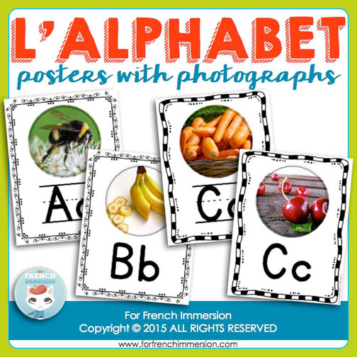 French Alphabet Posters - including two pictures for the letters C and G (hard and soft sounds) - for the French classroom!