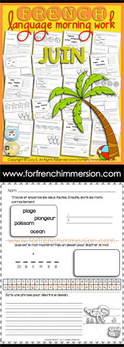 French Language Morning Work - 20 worksheets with exercises in French JUNE - en français JUIN