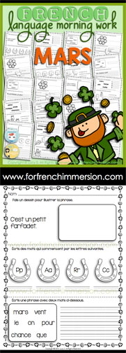 French Language Morning Work - 20 worksheets with exercises in French MARCH - en français MARS