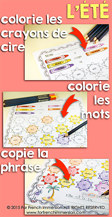 """French Summer Printables: Color & Read Worlsheets. Get students working on their French """"mots usuels""""."""
