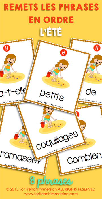 French Summer Printables: Sentence Builders (phrases mêlées). Students unscramble questions and answer then in writing or speaking. Engaging, fun, and effective school work!