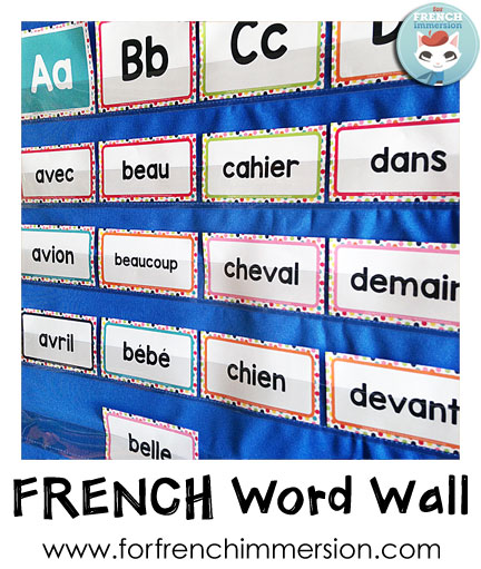 French Word Wall - displaying cards on a pocket chart will make it easier for you to use them in games and activities!