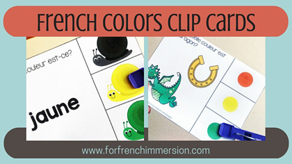 "French Colors Clip Cards - 3 different sets to help students learn the ""couleurs""! Self-checking, fun, and engaging activity!"