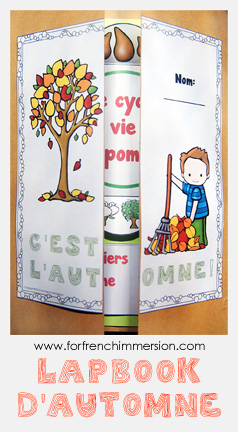 "French Fall Lapbook - Lapbook d'automne: interactive activities to celebrate the season and practice French! Includes ""apple life cycle foldable petals"", writing prompts, vocabulary practice, and more!"
