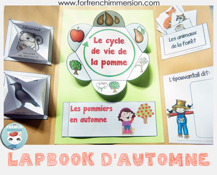 """French Fall Lapbook - interactive activities to celebrate the season and practice French! Includes """"apple life cycle foldable petals"""", writing prompts, vocabulary practice, and more!"""