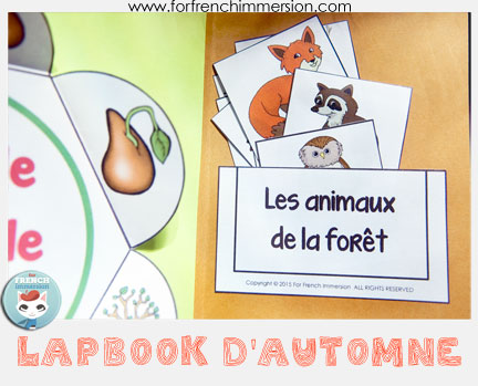 "French Fall Lapbook - interactive activities to celebrate the season and practice French! Includes ""apple life cycle foldable petals"", writing prompts, vocabulary practice, and more! This is the ""pocket"" that holds the vocabulary matching cards."