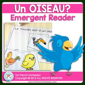 French Emergent Reader: un OISEAU? (a bird?). Livre pour les lecteurs débutants. En français.